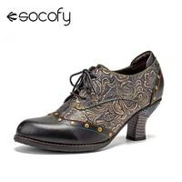 SOCOFY Frauen Retro Stil Pumpen Spleißen Geprägt Niet Decor Leder Comfy Werable Runde Toe Lace Up Beiläufige Heels Pumps Schuhe