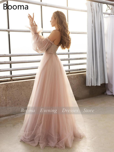 Sweet Dusty Pink Prom Dresses 2021 Off Shoulder Long Sleeves Princess Party Dresses Crumpled Tulle A-Line Formal Evening Gowns 4