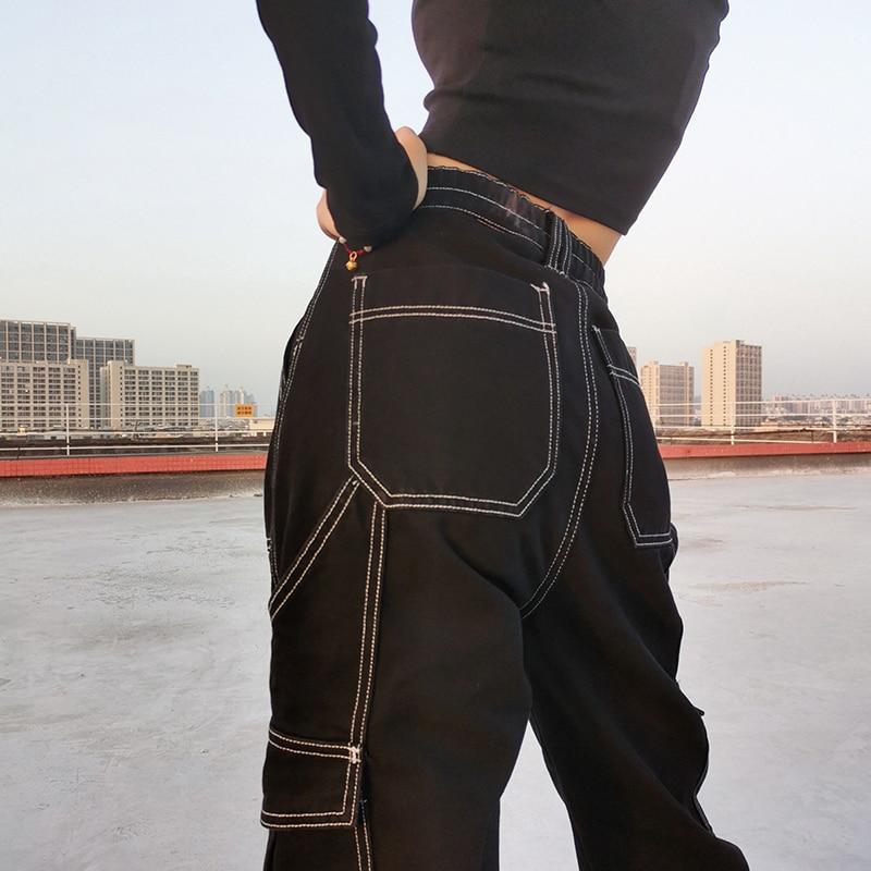 Weekeep Pockets Patchwork Baggy Jeans Fashion Streetwear 100% Cotton Women Denim Trouser Loose Cargo Pants Korean Jeans Harajuku 3