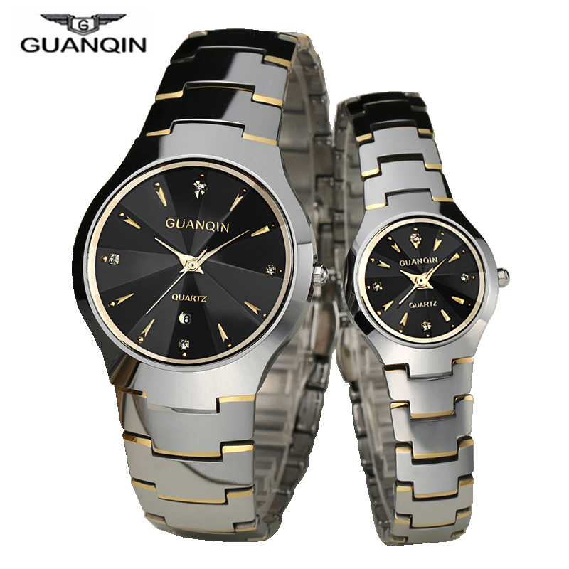 GUANQIN Fashion Couple Watches Set Men Women Lovers Watch  Date Luxury Gold Tungsten Quartz Watch Men Women Clock Watches
