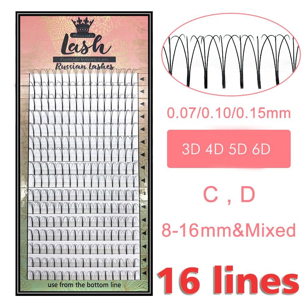 MAS cils 16 lignes préfabriquées ventilateurs de Volume 3d/4d/5d/6d cils russe Volume Extensions de cils pré-fait Extension de cils Faux vison