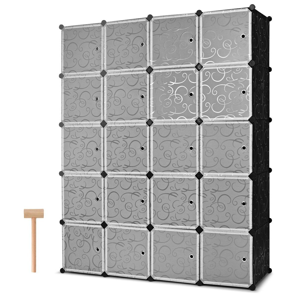 Costway DIY 20 Cube Portable font b Closet b font Storage Organizer Clothes Wardrobe Cabinet W