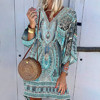 Ladies Bohemian print Dress Women V-neck Beach Printing Leisure Time On Vacation Long Sleeves Dress Loose Beach Dress Vestidos 1