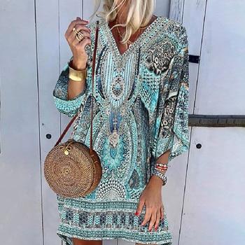 Ladies Bohemian print Dress Women V-neck Beach Printing Leisure Time On Vacation Long Sleeves Dress Loose Beach Dress Vestidos 1