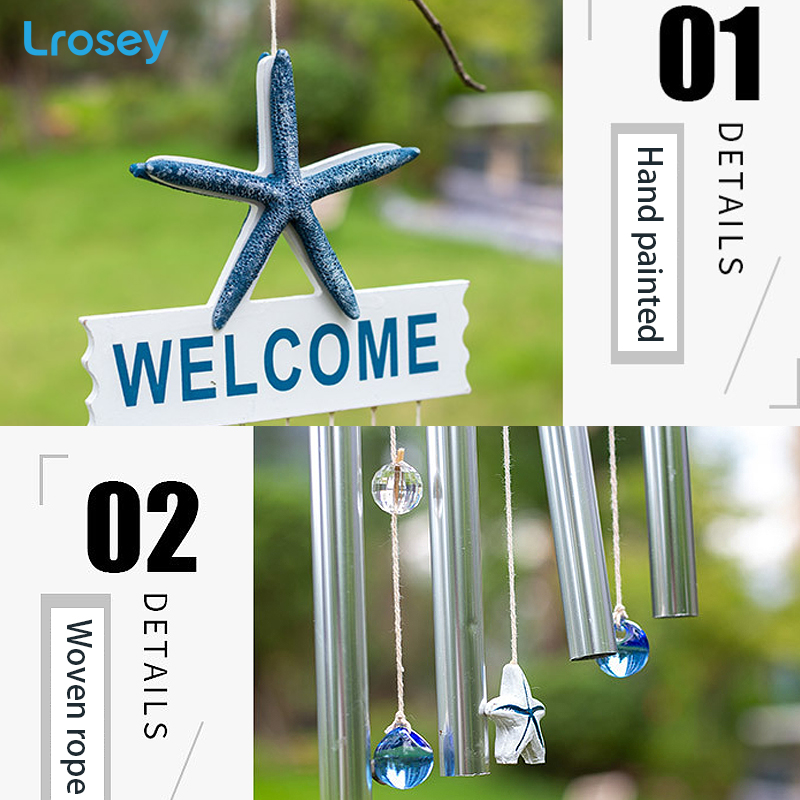 Wood Wind chimes kids room decoration nordic home decor Mediterranean Ocean Crab Starfish Music Wind Bell Balcony Hanging Charm in Wind Chimes Hanging Decorations from Home Garden
