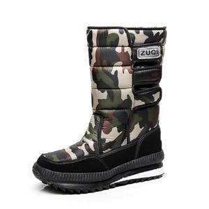 Image 1 - Men Boots Casual Winter Snow Boots For Men Shoes Thick Plush Waterproof Slip resistant Male Winter Shoes Plus Size 34   47