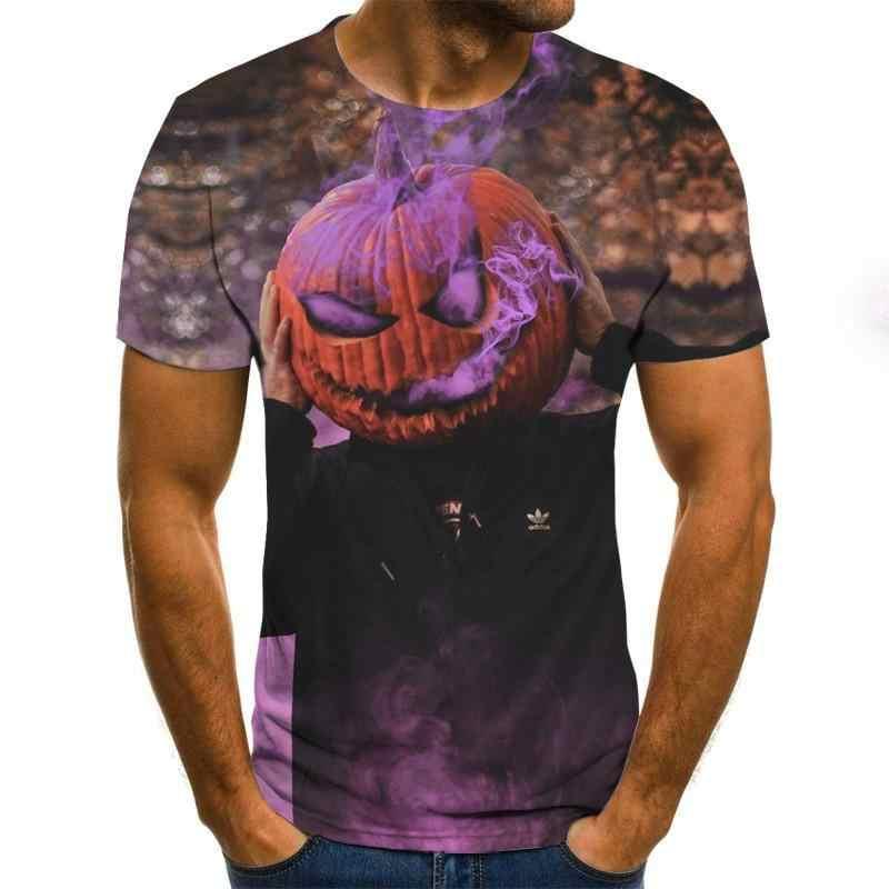 Mens Skull โคมไฟฟักทองเสื้อยืดแฟชั่นฤดูร้อนแขนสั้น Ghost Rider เสื้อยืด 3D Skull พิมพ์ Tops Skull TShirt ผู้ชาย