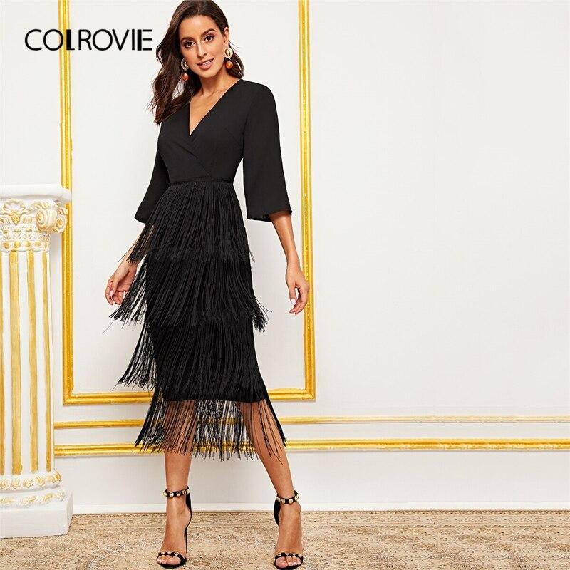 COLROVIE Black Surplice Neck Layered Fringe Trim Pencil Dress  Women V neck Long Dress 2019 Summer Glamorous Solid DressesDresses   -