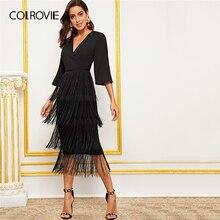 COLROVIE siyah cüppe boyun katmanlı saçak Trim kalem elbise kadın V boyun uzun elbise 2019 yaz göz alıcı katı elbiseler