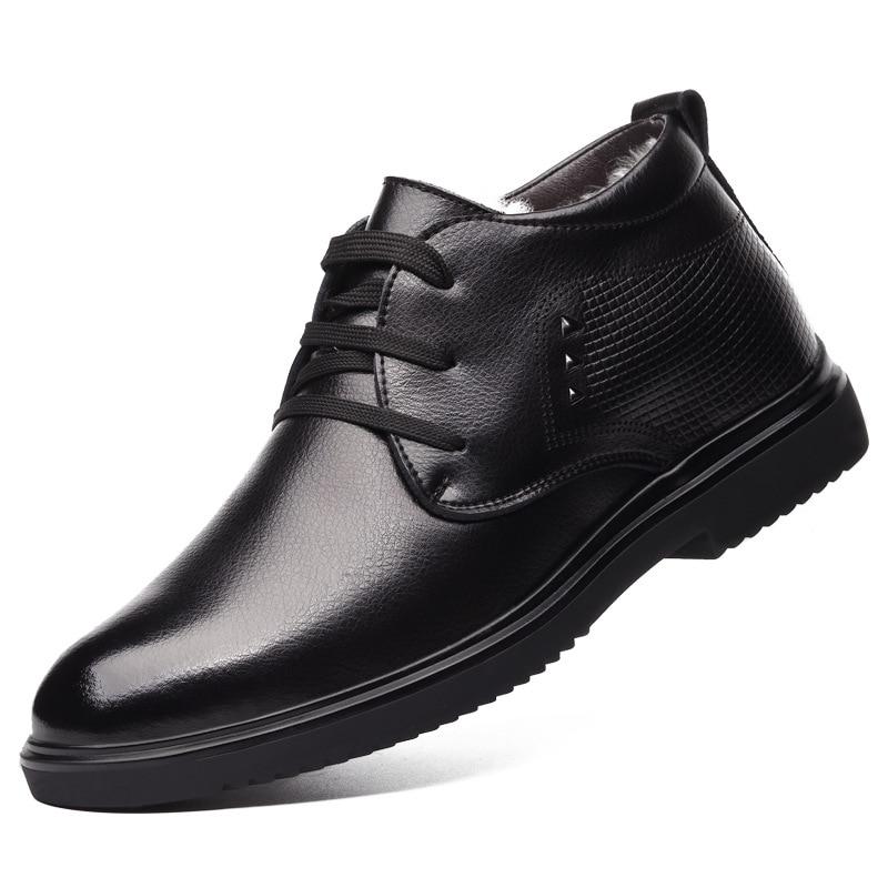 2019 новые модные мужские рабочие кожаные ботинки; теплые мужские зимние ботинки на холодную зиму; обувь из натуральной кожи; мужские шерстяные хлопковые ботинки; обувь - 2