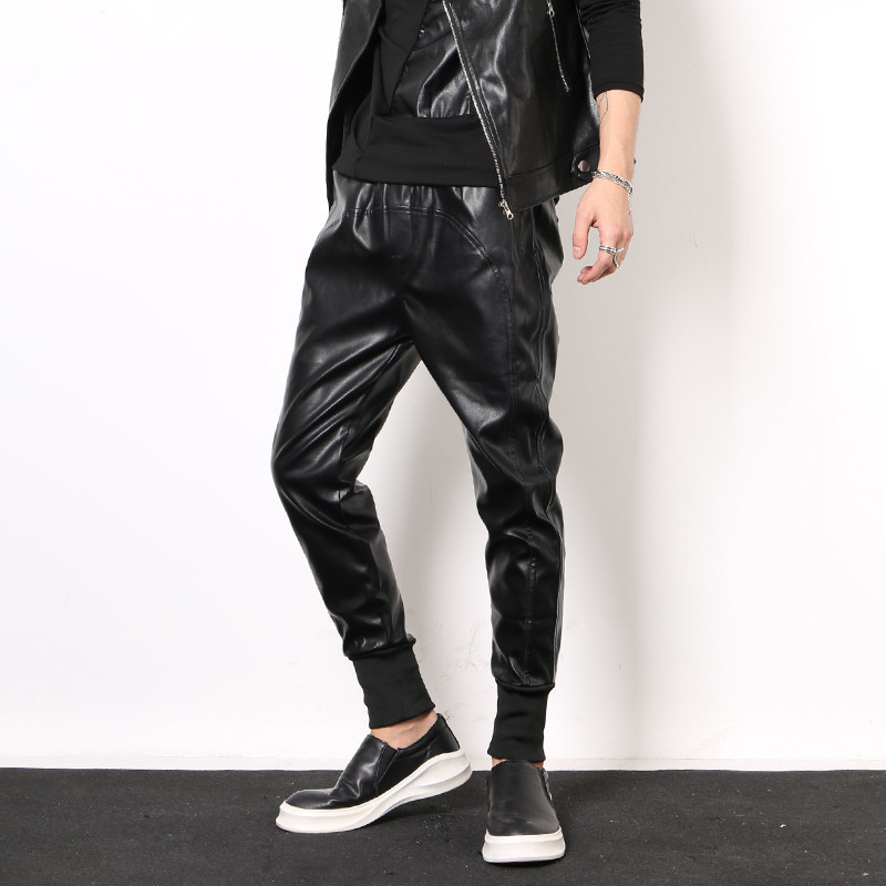 2020 New Winter Slim Fit Leather Pants Fashion PU Leather Elastic Waist Harem Trousers Streetwear Casual Pencil Pants Plus Size