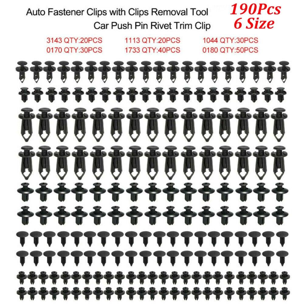 6 размеров 190 шт авто крепежные зажимы фиксатор АВТОМОБИЛЯ заклёпка Дверная панель крыло лайнер бампер обшивка бампера Пластиковые Смешанн...