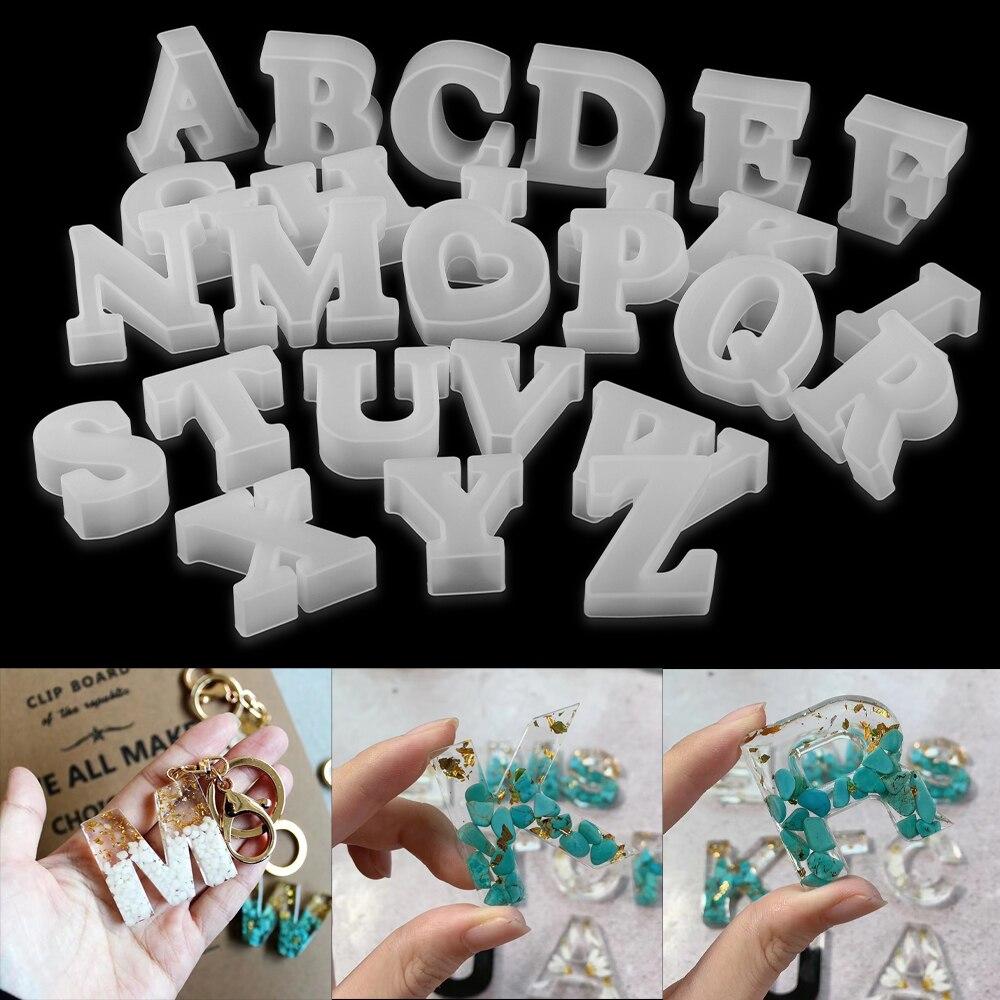 26 styles lettre moule Alphabet numéro Silicone moules colle cristal résine époxy moulage moule pour bijoux à bricoler soi-même faisant des accessoires
