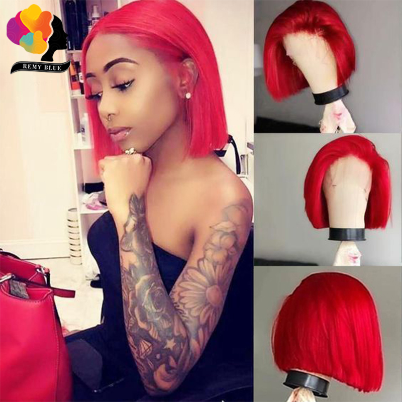 Brazilian Straight Red 99J 13X4 Lace Front Human Hair Wigs PrePlucked 150 Lace Front Wig Bob Wigs Remy Human Hair Wigs Remyblue