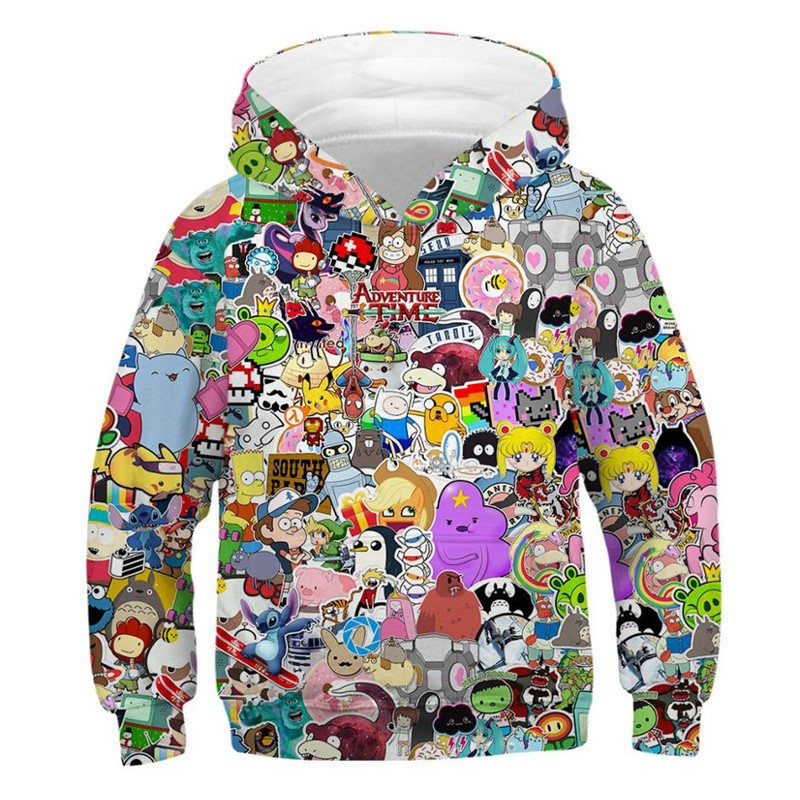 Cartoon Anime 3D Hoodies for Teen Girls Boys Children's Sweatshirt Spring Autumn Kids Clothes Oversized Hoodie Streetwear image