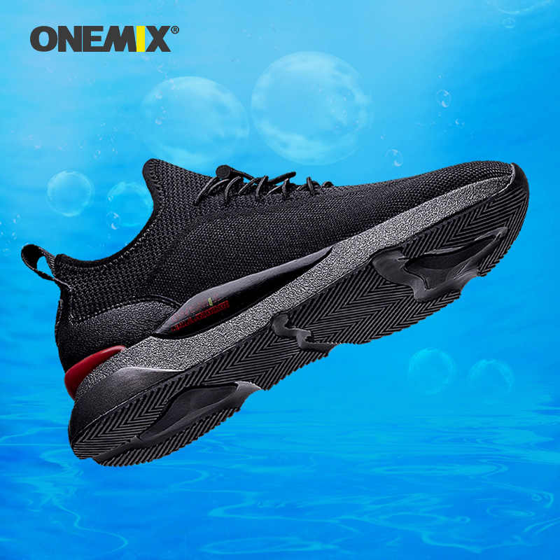 ONEMIX الرجال أحذية رياضية تنفس شبكة في الهواء الطلق أحذية رياضية وسادة هوائية الشقق التدريب رياضية الذكور الانزلاق على الركض احذية الجري