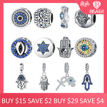 BISAER 925 Sterling Silver Blue Crystals Eyes Round Bead Fatima Hamsa Hand Charms Fit Charm Silver 925 Original Bracelet Jewelry(China)