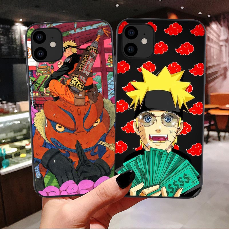 Ninja Anime Akatsuki Red Cloud Soft Phone Case For iPhone 11 Pro Max naruto kakashi cool Cover For iPhone 7 8 Plus XS MAX XR 6 s image