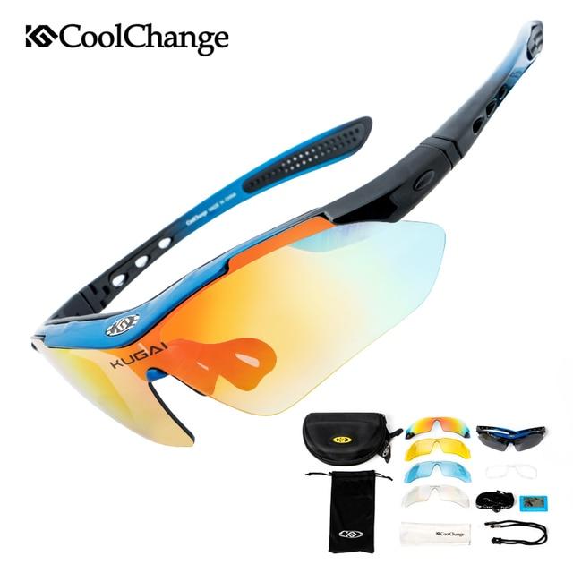 Coolchange polarizado profissional óculos de ciclismo óculos de bicicleta esportes ao ar livre óculos de sol com 5 lente quadro miopia 1