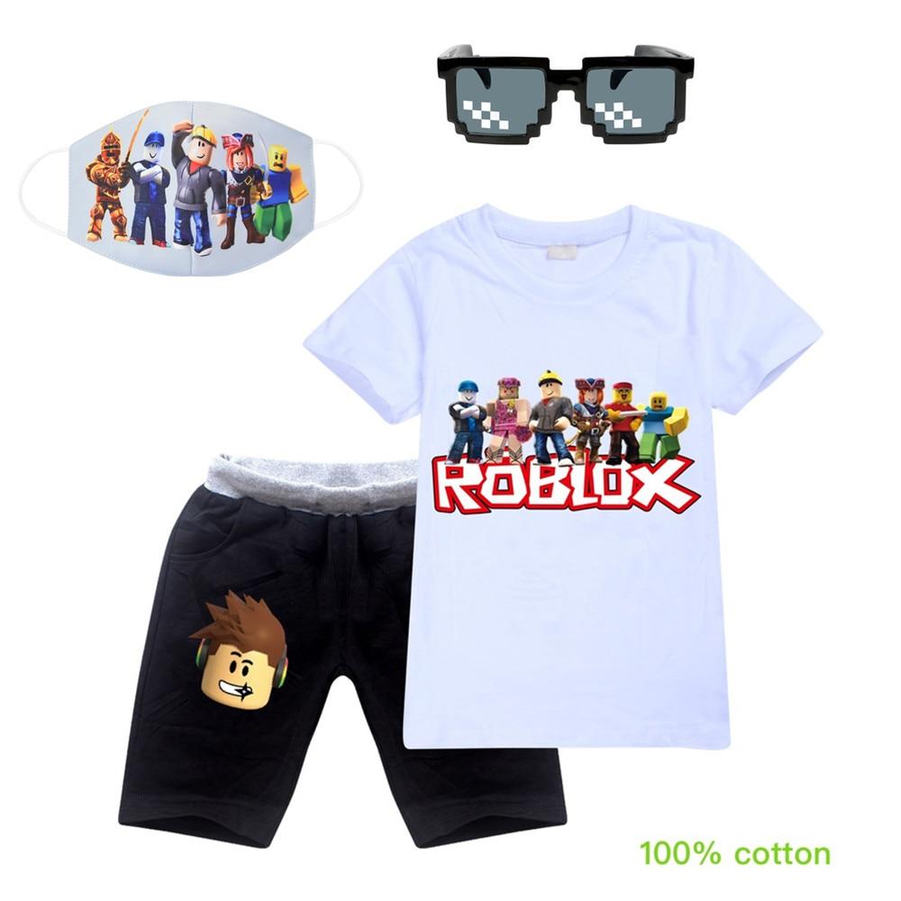 3-14Y New Kids T-shirt Girls Jogger Jumper Pullovers 100% Cotton Leisure Fashion Kids Baby Sweatshirts+Masks Sunglasses 4pcs Set