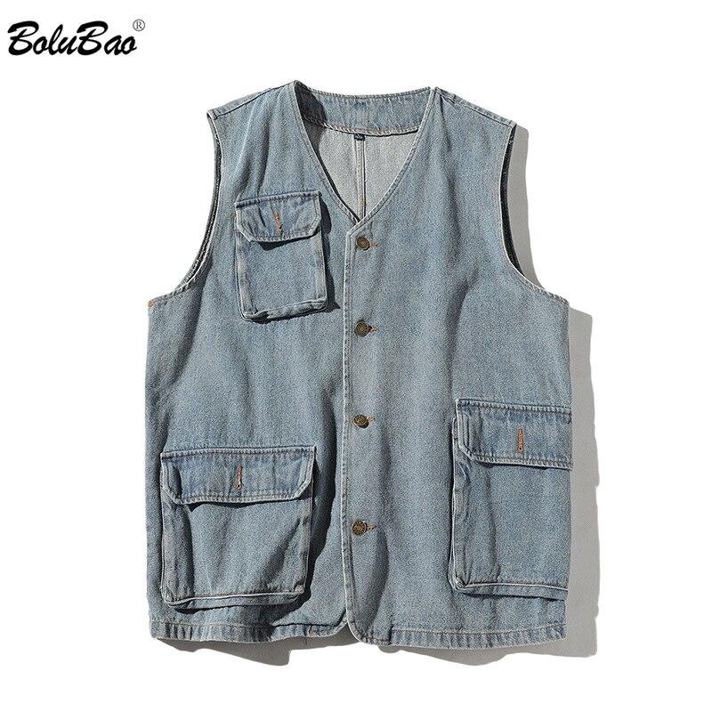 BOLUBAO Brand Men Denim Vest Spring New Men's Retro Classic Casual Denim Vest Fashion Multi-Pocket Slim Fit Wild Vest Coat Male