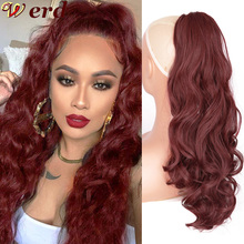 Curly Ponytail Hairpin Hair-Extension Drawstring Wig Blonde Synthetic-Fiber Long Ombre
