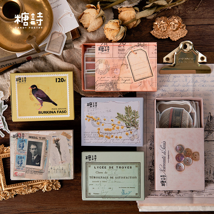 80pcs/box Vintage Plant Travel Matchbox Diary Stickers Retro Stamps Scrapbooking Korean Cute Bullet Journal Sticker Label