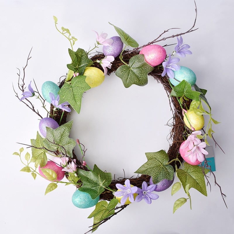 Easter Decoration Wreath10-30cm Home Decor Natural Rattan Wreath Easter Party Wreath Crafts Egg Decoration Spring Wedding Wreath