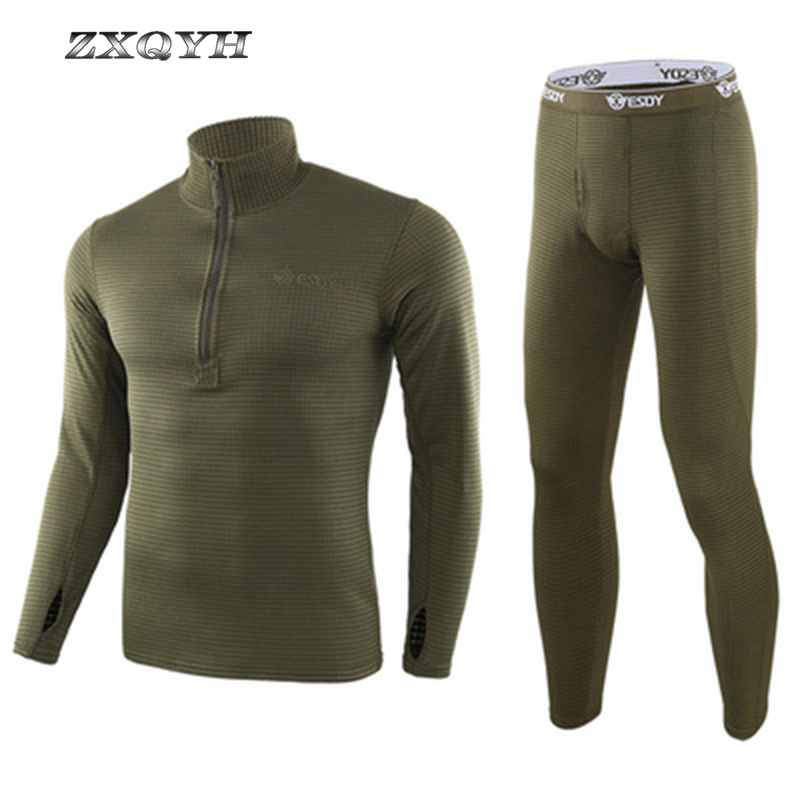 ZXQYH Winter Thermal Underwear Men Sets Military Tactical Uniform Outdoor Sport Clothing Hiking Warm T-Shirts+Pants Uniform Sets