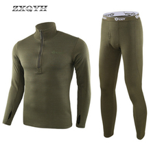 ZXQYH Winter Thermal Underwear Men Sets Military Tactical Uniform Outdoor Sport Clothing Hiking Warm T Shirts+Pants Uniform Sets
