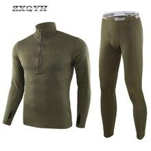 ZXQYH ropa interior térmica de invierno conjuntos de hombres uniforme táctico militar ropa deportiva al aire libre senderismo calientes camisetas + Pantalones conjuntos de uniformes