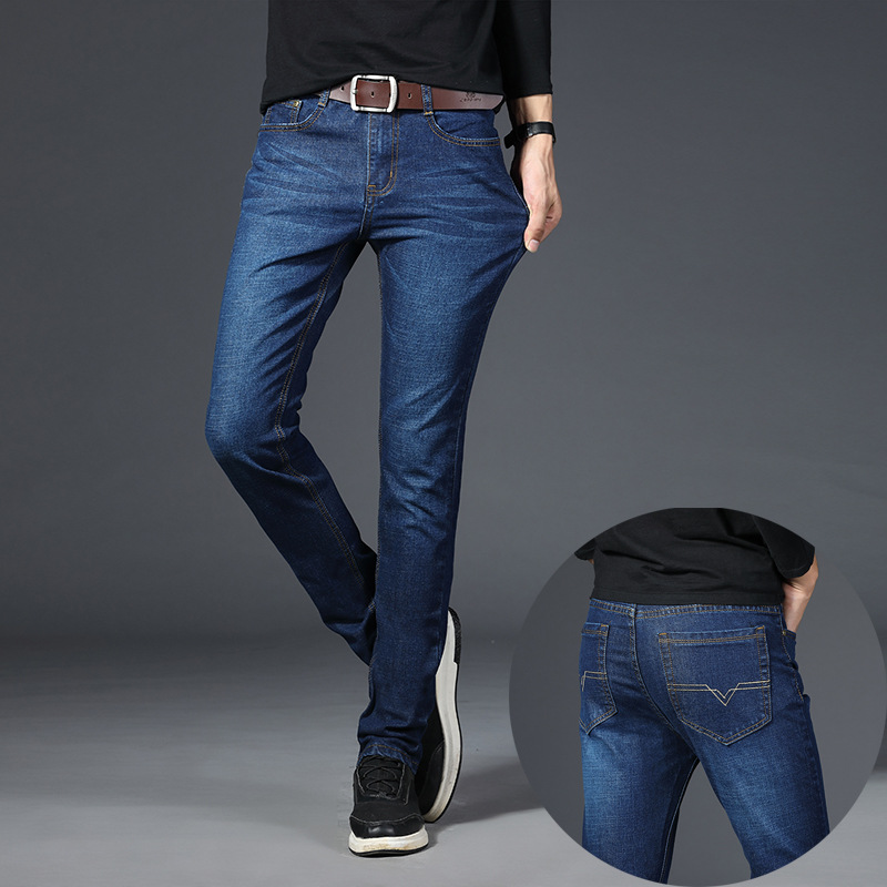 MEN'S Jeans Slim Fit 2018 Autumn Thin Large Size Fat Youth 200 MEN'S Straight Trousers Supply Of Goods