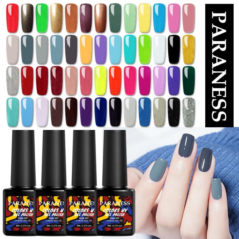 Paraness Ordinary Color Gel Nail Polish Top Base Coat UV Led Gel Varnish Semi Permanent Nail Art Lacquer Soak Off Manicure