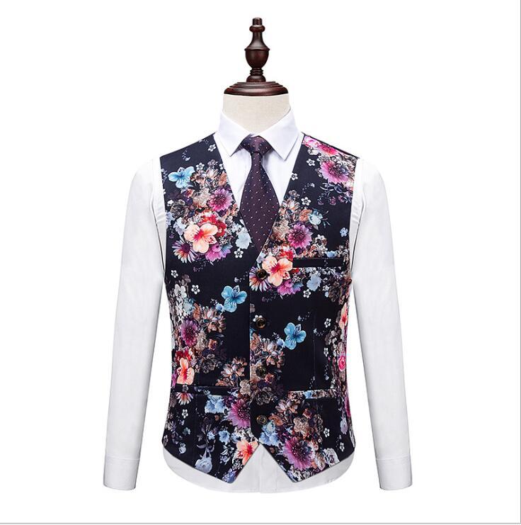 2019 осенние и зимние мужские модные костюмы с цветком, мужские свадебные смокинги с длинным рукавом, высокое качество, деловой костюм из 3 пре... - 4