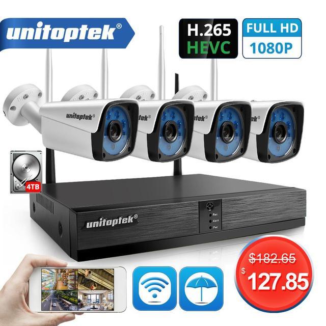 4CH 1080P اللاسلكية نظام الدائرة التلفزيونية المغلقة عدة H.265 4CH NVR 2MP واي فاي كاميرا IP في الهواء الطلق مقاوم للماء طقم مراقبة الأمن الفيديو P2P XMEYE