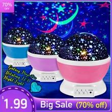 Sky projektor Star Moon Galaxy lampka nocna dla dzieci dzieci sypialnia Decor projektor obrotowy przedszkole lampka nocna LED lampa dziecięca