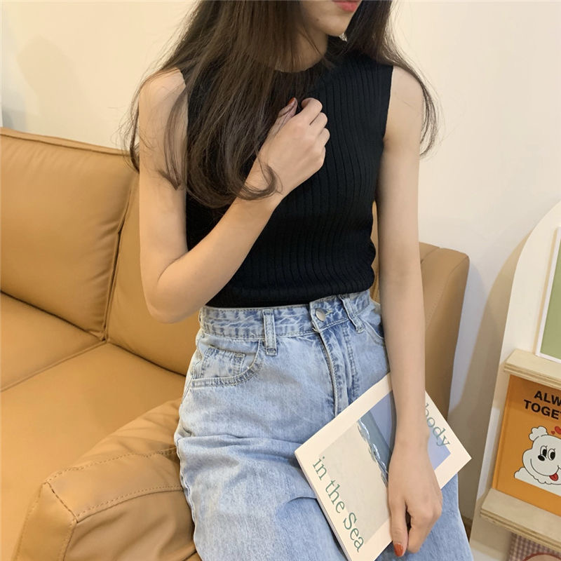 Camisole women's summer outer wear trendy summer new Korean version of the slim inner short knit top, all-match bottoming shirt 4