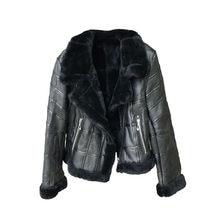 Chaqueta de cuero para mujer, abrigo grueso y cálido de lana de piel de cordero con cuello, prendas de vestir exteriores con cremallera para motocicleta, cazadora Bomber corta de retales