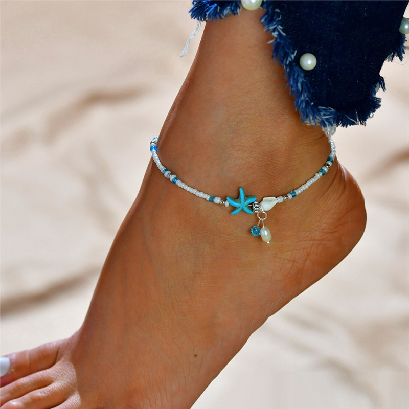Vagzeb Fashion Bohemian Imitation pearls Starfish Charms Bracelets Anklets For Women Summer Foot Chain Shell Jewelry Gift