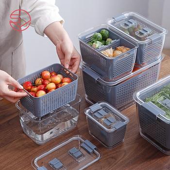 Pojemniki na jedzenie w lodówce pojemniki z pokrywkami pojemniki do przechowywania w kuchni pojemnik z tworzywa sztucznego oddzielne owoce warzywa świeże pudełko o dużej pojemności tanie i dobre opinie CN (pochodzenie) Nowoczesne kitchen storage box Drainage Storage Box Fruit washing basket Drain basket Kitchen refrigerator sealed storage box