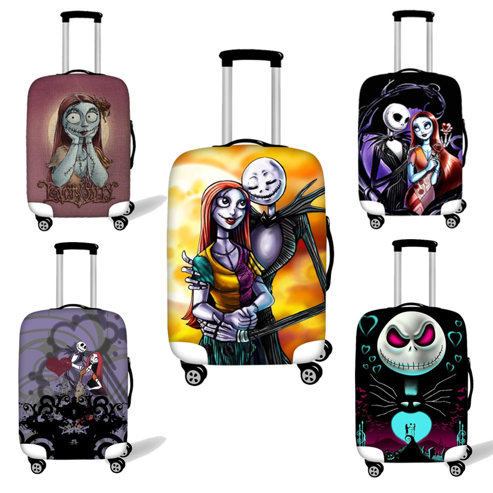 ELVISWORDS Luggage Protective Cover Nightmare Before Christmas Print Elastic Waterproof Rain Cover For 28-32 Inch Suitcase 2020