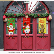 6 Style Christmas Decorations Home Door Decor Hanging Ornaments Window Cloth Gifts New Year