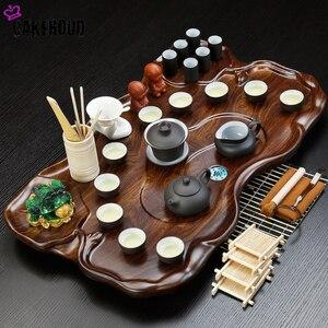 Китайский чайный церемония Zisha чайный набор кунг-фу журнальный столик поднос простой чайный столик дренаж хранение воды твердый деревянный...