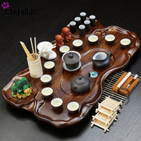 Chinese Tea Ceremony Zisha Kung Fu Tea Set Coffee Table Service Tray Simple Tea Table Drainage Water Storage Solid Wood Tea Tra