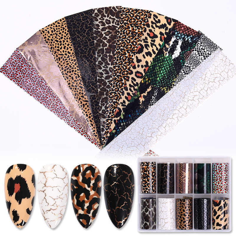 1 Box Nail Folies Snake Sparkly Papier Nail Art Transfer Sticker Slide Nail Art Decal Nagels Accessoires