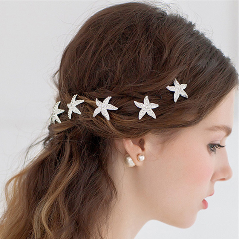 New Alloy Starfish Style Hair Ornaments Bride U Clip Hair Ornaments Shiny Rhinestone Hairpin Ornaments
