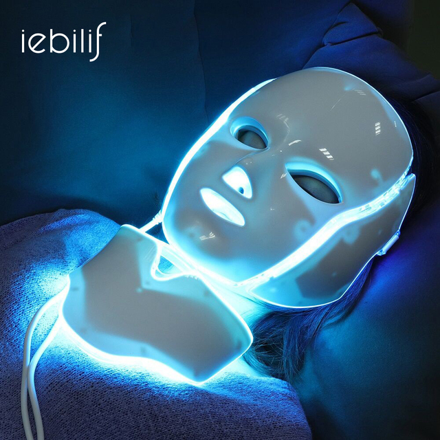 iebilif 7 Colors Photon Electric LED Facial Mask with Neck Skin Rejuvenation Anti Acne Wrinkle Beauty Treatment Salon Home Use