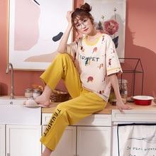 Frauen Pyjamas Frühling Sommer Pyjamas Set Kurzarm Nachtwäsche Pijama Pyjama Anzug Weibliche Homewear Nacht Anzug
