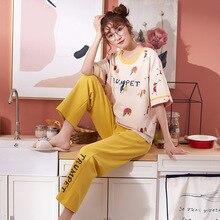 여성 잠옷 봄 여름 잠옷 세트 짧은 소매 잠옷 Pijama 잠옷 정장 여성 Homewear Night Suit