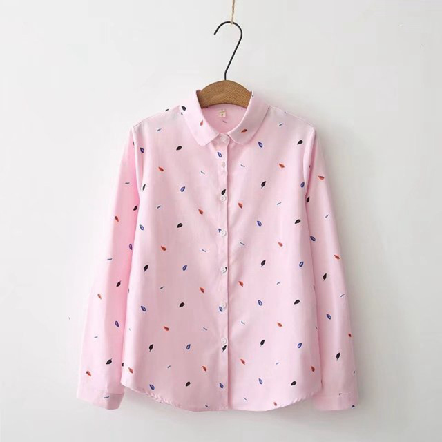 Print Shirts Women Tops 2020 Autumn Clothes Plus Size Loose Pink Blusa Feminina  Long Sleeve Women Blouse Cotton Blouses SL87 1